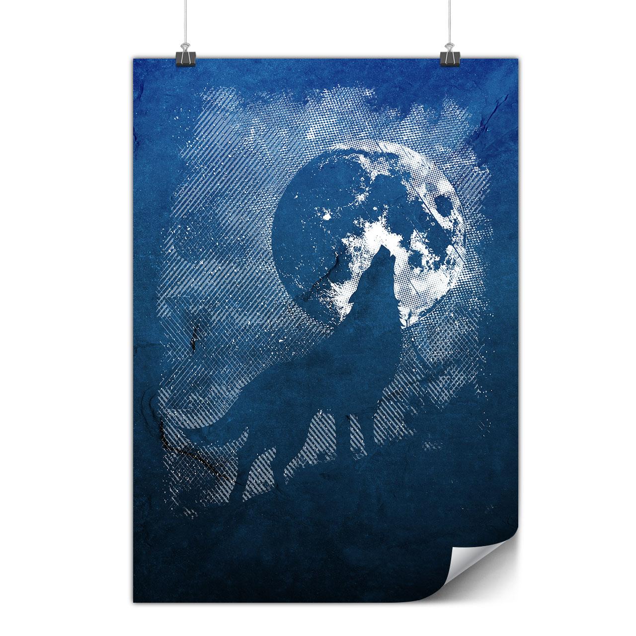 Colorful Wolf Howl Art Matte//Glossy PosterWellcoda