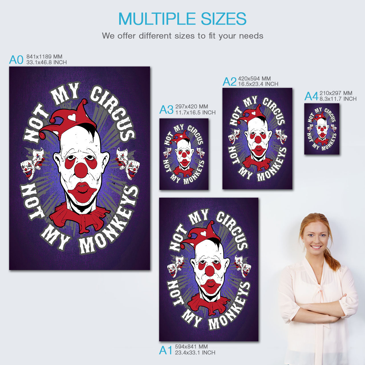 Circus Clown Monkey Funny Matte//Glossy PosterWellcoda