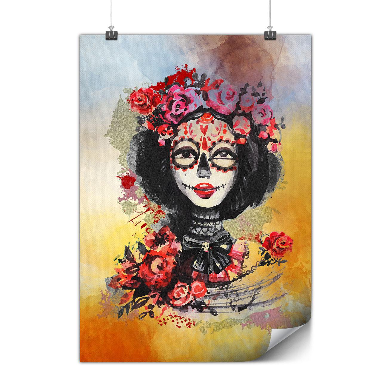 Flowers Skull Rose Matte//Glossy PosterWellcoda